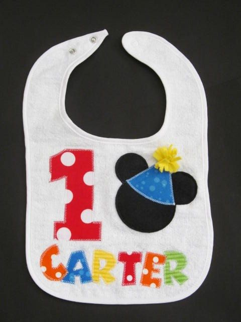 Personalized bib Mickey Mouse applique by FiestaKidsBoutique, $18.00