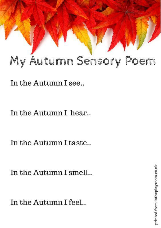 Autumn sensory poem printable prompt. What a fun sensory literacy idea for fall