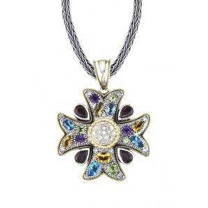 Effy 925 Cross Pendant with Sapphires, 5.50 TCW