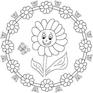 Mandala Malvorlage Sonnenblume