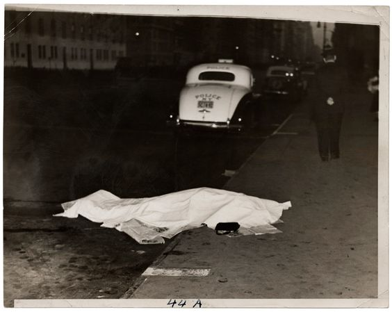Girl jumped out of car, and was killed, on Park Avenue, Weegee