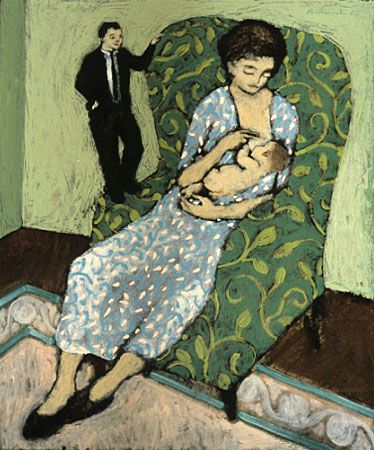 "Philip saw a lecture on this artist, Brian Kershisnik and said that this painting, entitled ""little father"" was how he felt when he saw his wife breastfeeding their children--helpless."