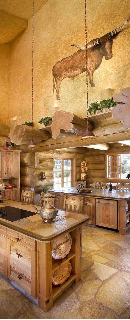 Pioneer Log Homes The Kitchen Features Two Islands And A