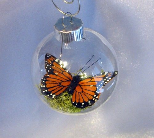 Butterfly Christmas Ornament - Captive Inside Clear Glass World Ornament