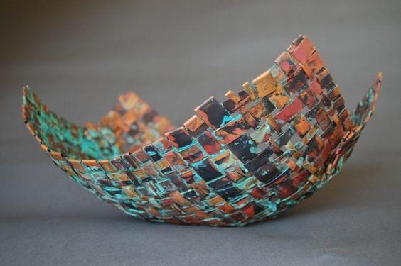 Handmade Copper Basket : Copper woven basket handmade metal