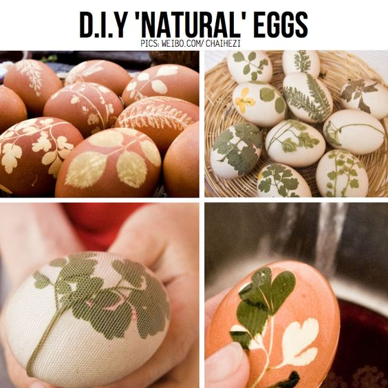 DIY Natural Leaf Print Eggs, featured in round-up of Easter DIY on ScrapHacker.com