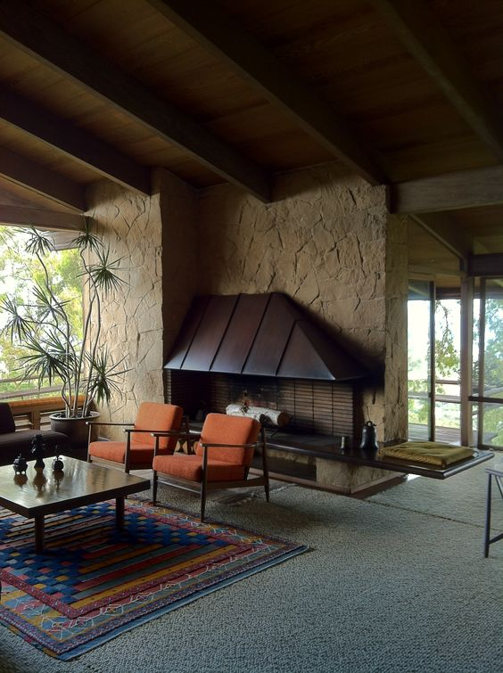 Fireplace Focal Point At The Liljetstrand House Honolulu 1952 By Architect Vladimir Ossipoff