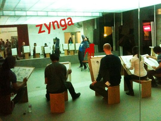 Clases de arte en las oficinas de Zynga