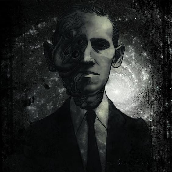 """""""El denominado horror cósmico de Lovecraft es una manifestación de su propio nihilismo, un terror que subyace en el fondo mismo del cosmos, [...] que nos lleva a pensar que no hay ningún dios protector que nos vigile y nos cuide, sino enormes y peligrosas fuerzas que circulan por el Universo, incomprensibles para el hombre [...]"""". Ilustración de Andrea Beré - http://www.fabulantes.com/2013/05/valdemar-y-el-terror-charla-con-rafael-diaz-santander-y-juan-luis-gonzalez-caballero-editores/"""