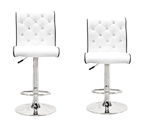 St8226 2 Pcs Modern Swivel Bar Stools W Crystals And