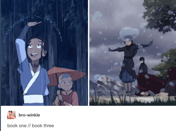 Freaking Katara mastered waterbending in like just two weeks and continued to be the most powerful waterbender of all time this is why she's my favorite