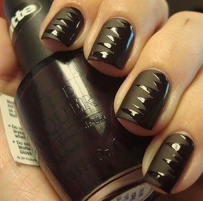 matte + glossy black nails - so cool!