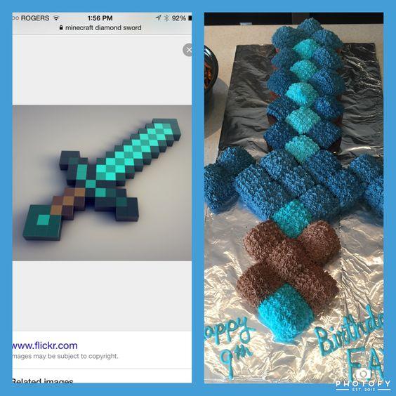 Minecraft Diamond Sword cupcake cake | Birthday Ideas ...