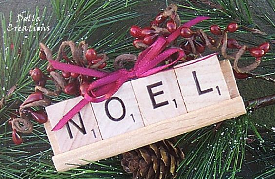Scrabble+Ornament+with+Tile+Tray++NOEL+by+WinterberryOriginals,+$7.50