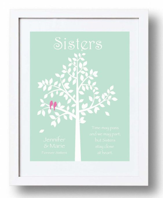 Wedding Gift For Your Sister : SISTERS gift print - Personalized gift for your Sister - Wedding Gift ...