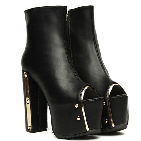 Metal Zippered Peep Toe Black Short Boots