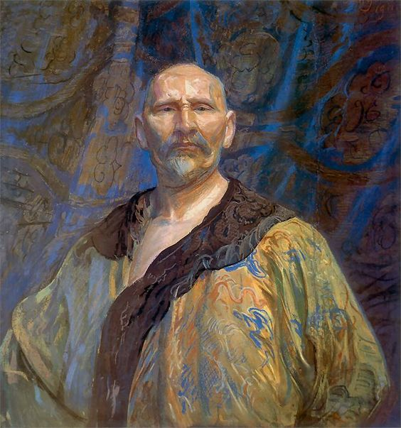 Self-portrait in Chinese gown by Leon Wyczółkowski (1852-1936) Wyczółkowski was one of the leading painters of the Young Poland movement, as well as the principal representative of Polish Realism of the period...he looks very imperious here...the richness of the embroidered, fur-trimmed robe helps, of course.: