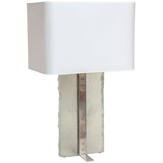 Boris Jean Lacroix French Art Deco Nickelled Brass and Glass Slab Table Lamp | See more antique and modern Table Lamps at http://www.1stdibs.com/furniture/lighting/table-lamps