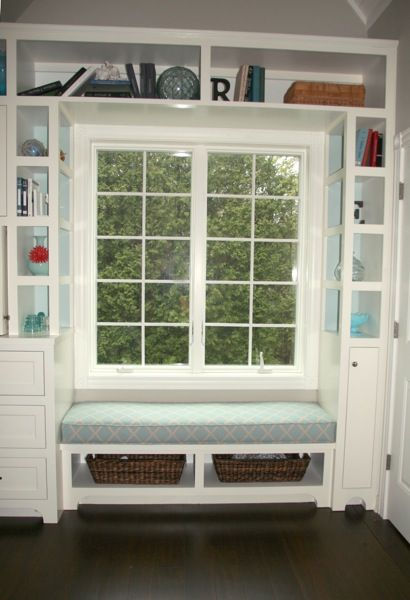 Cozy Window Seat Surrounded By Shelving Decorating