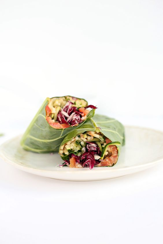Thai Zucchini And Cucumber Noodle Collard Green Wraps With Almond Butter Sauce