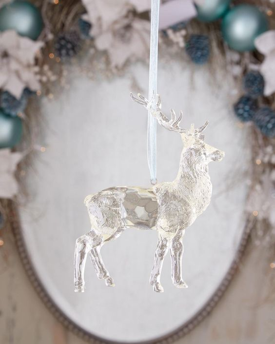 Cody Foster & Co Quartz-Look Stag Christmas Ornament