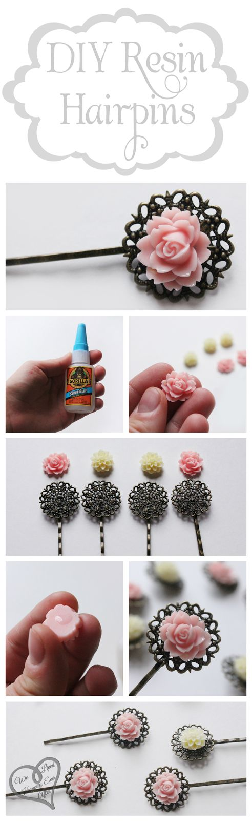 We Lived Happily Ever After: DIY Resin Hairpieces.  Maybe make the bobby pins with jewelry findings.