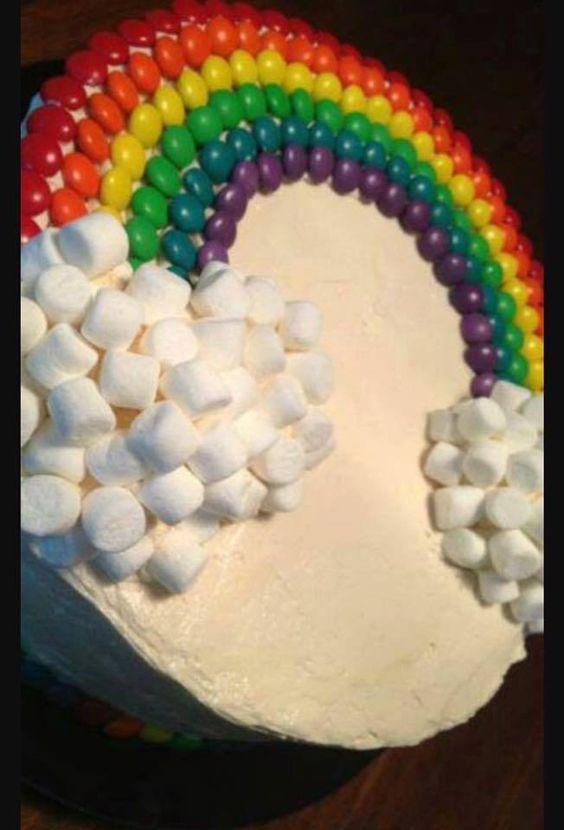 Torta arco iris ideas para cumplea os pinterest for Decoracion de tortas faciles