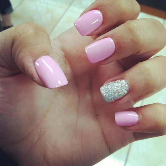 Squoval Silvers: Pink And Silver Acrylic Nails