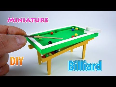 How To Make A Mini Billiard Table With Game Balls Sticks Chalk And Triangle Tutorial Very Easy Crafts 5 Minute Crafts For Billiards Easy Crafts Miniatures