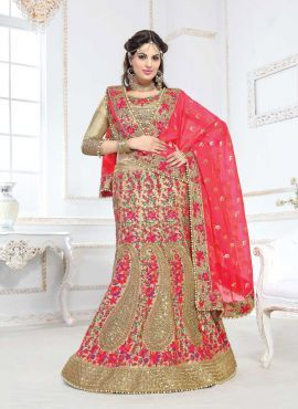 Beige designer Indian bridal wear lehenga with floral embroidery