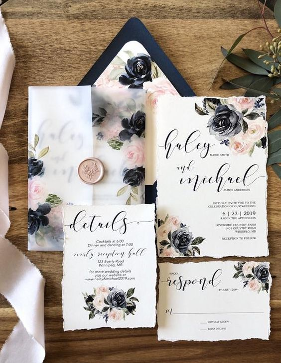 Watercolor Floral Wedding Invitation Suite Navy and Blush | Etsy