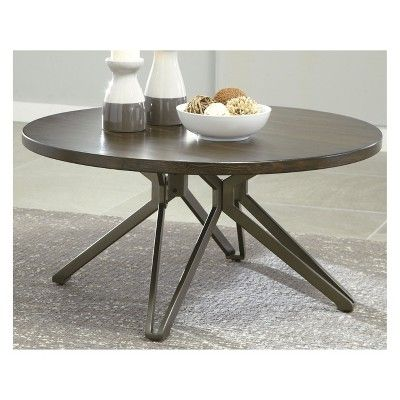 Tavonni Round Cocktail Table Brown Black Signature Design By