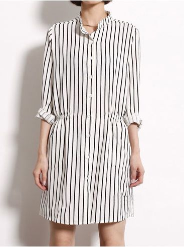 White Lapel Long Sleeve Vertical Stripe Blouse US$30.82