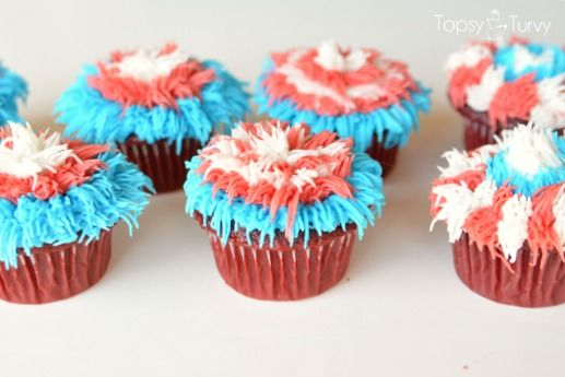 Red, White and Blue fireworks inspired cupcakes
