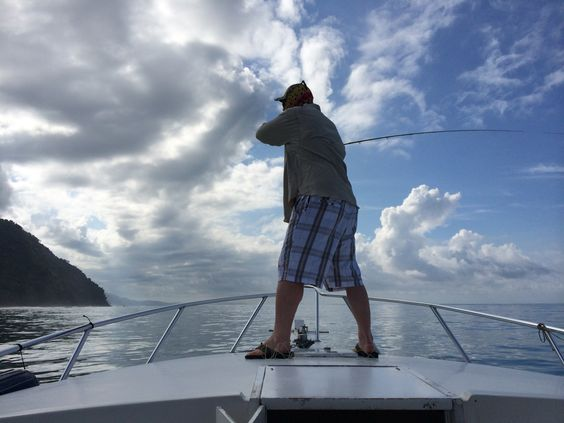 Jake Grove fly fishing for Roosterfish in Costa Rica.