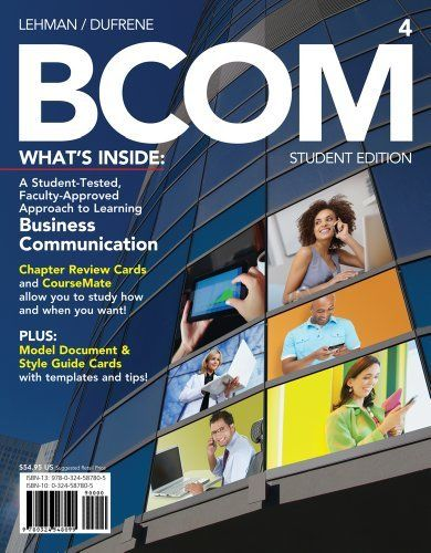 BCOM (with Business Communication CourseMate with eBook Printed Access Card) by Carol M. Lehman. $58.34. Publisher: South-Western College Pub; 4 edition (February 21, 2012). Publication: February 21, 2012. Edition - 4