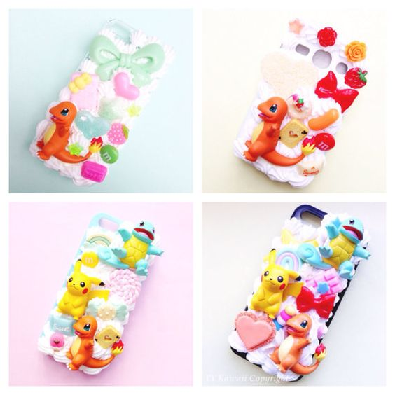 Custom Kawaii Pokemon Charmander Decoden Phonecase for Iphone 4/4s 5, Samsung Galaxy S5 S3 S4, HTC One: