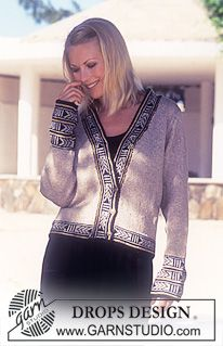 DROPS Cardigan in Silk-Tweed with border. ~ DROPS 61-16 by DROPS Design