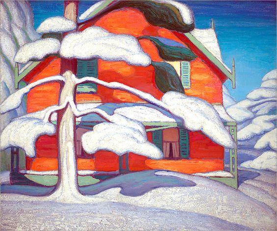 wetreesinart:  Lawren Harris (1885-1970) , Pine Tree and Red House, Winter City,1924