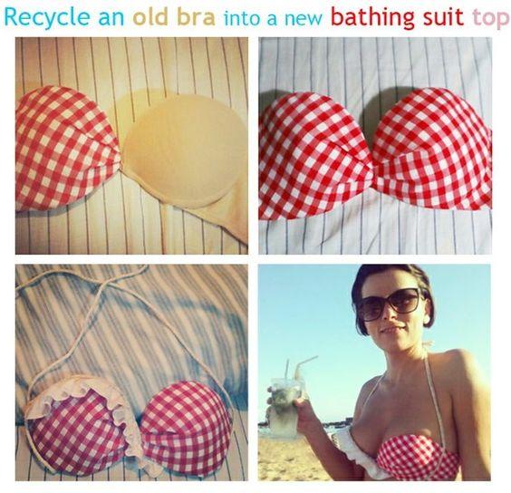 Como hacer un traje de baño con la parte superior de un corpiño o sujetador (nuevo o usado) .