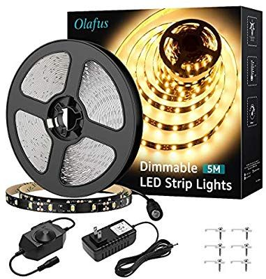 Amazon Com Olafus 16 4ft Led Strip Lights Warm White Dimmable 12v Flexible Under Cabinet Lighting S In 2020 Led Strip Lighting Led Rope Lights Under Cabinet Lighting