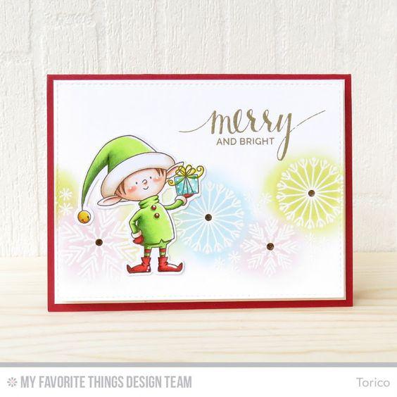 Santa's Elves Stamp Set and Die-namics, Snowflake Flurry Stamp Set, Hand Lettered Holiday Stamp Set - Torico  #mftstamps