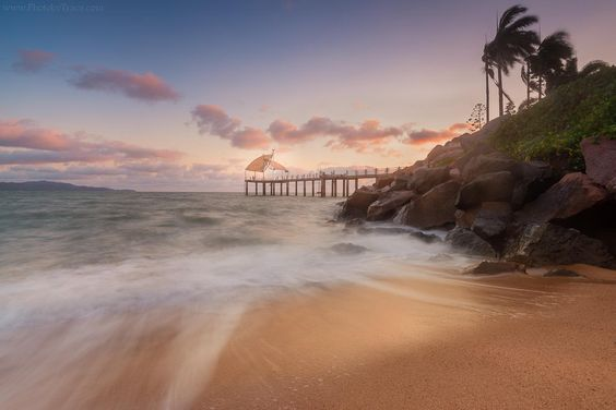 Sunrise on New Year Day at The Strand Jetty in Townsville, Queensland.
