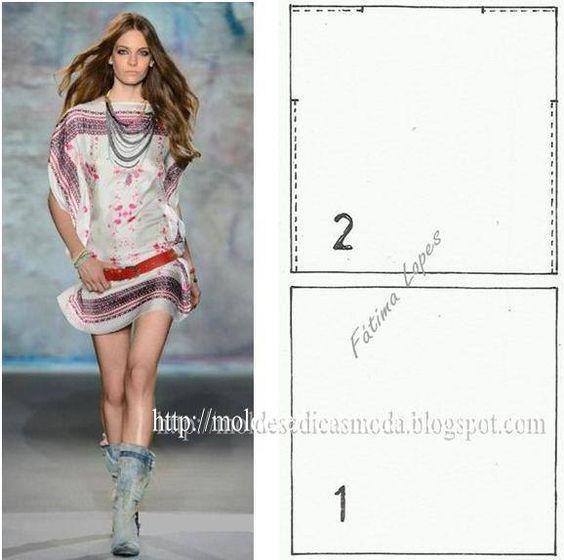 PASSO A PASSO MOLDE DE BLUSA Corte dois quadrados de tecido (ou use dois lenços) com aproximadamente 1 a 2 metros cada. Costure os ombros e deixe uma abert