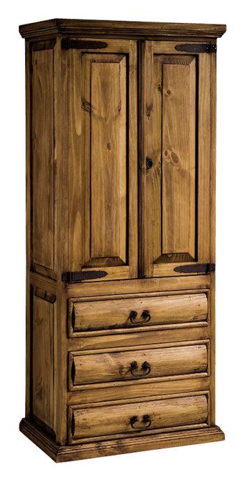 Armario rustico de 2 puertas y 3 cajones en color casta o for Muebles vanitorios rusticos