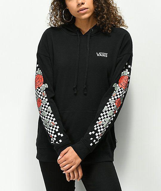 Vans Rose Checkboard Sleeve Black Hoodie | Vans hoodie
