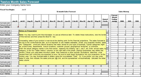 Sales Forecast Template HttpExceltmpComSalesForecast