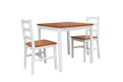 Enjoi 3 Piece Dining Table Set Rectangular Kitchen Dining Hall Furniture Home Chairs White Dining Table Setting Hall Furniture Dining Table