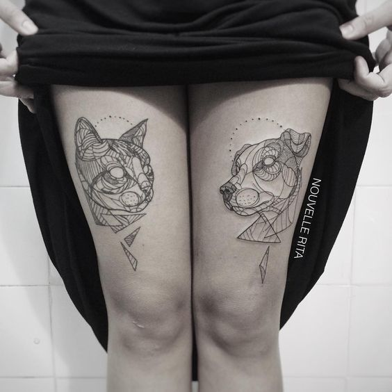 Animal Tattoos Made with Bold Contour Lines by Nouvelle Rita