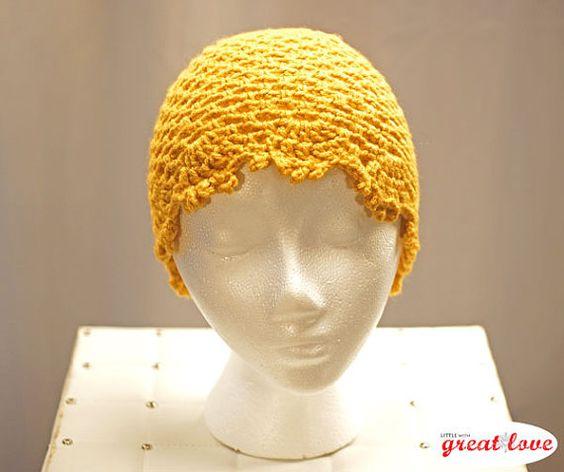 Elegant Laced Edge Goldenrod Ladies winter hat.  This Goldenrod winter hat with delicate laced edge is the perfect accessory this winter #crochet #handmadegift #etsy
